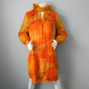 Vtg Saks Orange Watercolor Silk Back Bow Dress SM